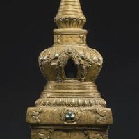 704. a bronze stupa western tibet, 16th century