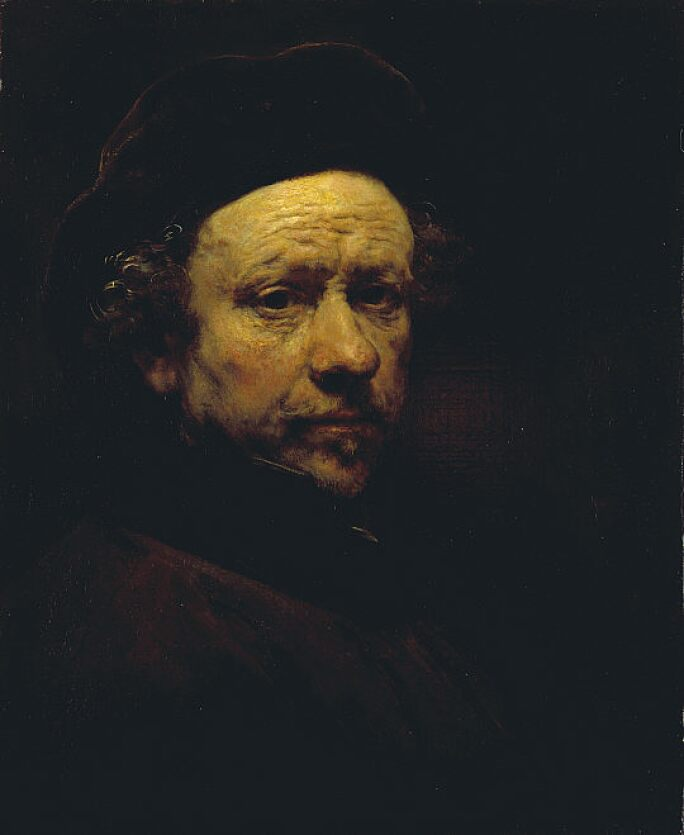 Self-portrait of Rembrandt at the age of 51.