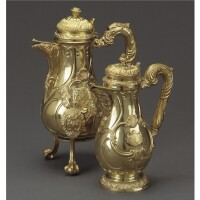1. two royal german silver-gilt coffee pots, georg drewes, hanover, circa 1841, date letter h