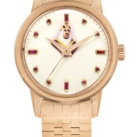 22. patek philippe   reference2481 a pink gold and ruby-set wristwatch with enamel dial and bracelet, made to honorabdul aziz 'ibn saud'the king of saudi arabia, made in1957