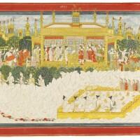 102. the himalayan journey of the five sages, illustration from a kedara kalpa series, attributed to purkhu of kangra or his family workshop, kangra,circa 1800-25