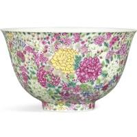 3607. a fine falangcai 'mille-fleurs' bowl blue enamelmark and period of yongzheng