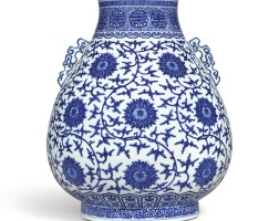 3616. a fine and large blue and white 'lotus scroll' vase, hu seal mark and period of qianlong
