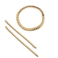 35. gold 'chexa' necklace and pair of gold 'chron' bracelets, marina b