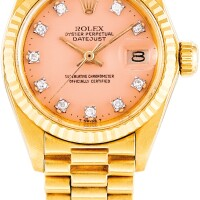 148. rolex   datejust, reference 6917 a yellow gold and diamond-set wristwatch with date, bracelet and lacquered dial, circa 1978