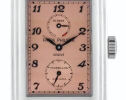 62. 百達翡麗(patek philippe) | 510p型號鉑金陀飛輪腕錶備10日動力儲存顯示,2006年製。