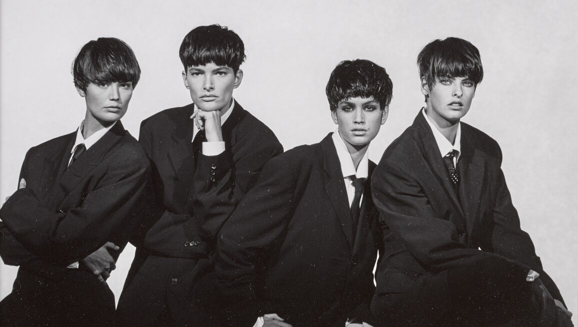 Peter Lindbergh photograph of supermodels Linda Evangelista and Cindy Crawford as the Beatles