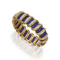 23. 18 karat gold, lapis lazuli and diamond bracelet, france