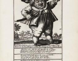 2. [caricatures] de waereld vol gekken nesten... amsterdam, koning, 1720. rare suite complète.
