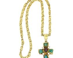 306. 黃金鑲寶石長項鏈