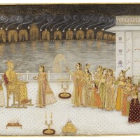 17. samsam al-daula khan dauranwatching afirework display, signed bykalyan rai (probably kalyan das, known as chitarman ii), mughal, circa1719-25