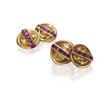 10. pair of 18k yellow gold, citrine and ruby cufflinks