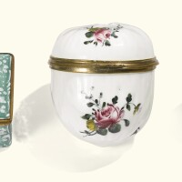 12. a porcelain and two enamel snuff boxes, various origins and dates