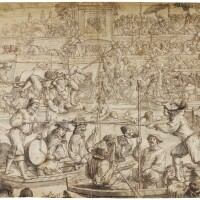 327. dutch or french school, 17th century   men jousting on a river and pulling the goose, as onlookers admire thefestivities
