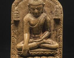 701. a sedimentary stone shrine depicting shakyamuni buddha eastern india, pala period, circa 12th century