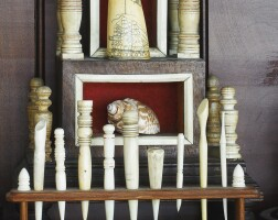 938. scrimshaw bone and wood hourglass