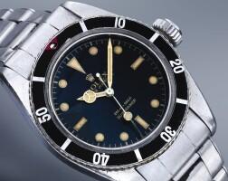 251. 勞力士(rolex) | 6538型號「'big crown' submariner」精鋼自動上鏈鍊帶腕錶,年份約1956。