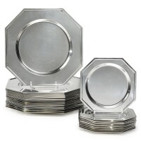 582. a set of twenty-four italian silver-plated octagonal chargers and twelve matching dessert plates, late 20th century |