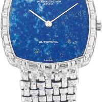 14. vacheron constantin | reference 7391 a white gold bracelet watch with lapislazulidial, circa 1970