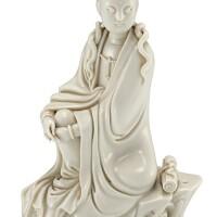 340. 十七至十八世紀 德化白瓷觀世音菩薩坐像 《何朝宗》款  