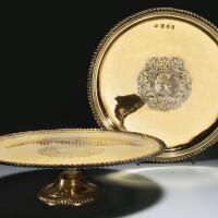 37. a pair of william iii silver-gilt salvers, john edwards, london, 1700