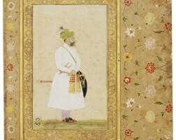 6. a portrait of baqir khan, mughal, circa 1635, with borders from a royal album made for shah jahan, mughal, circa 1640-58