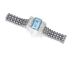 246. 鉑金及18k白色黃金鑲海水藍寶配藍寶石及鑽石手鏈, mauboussin