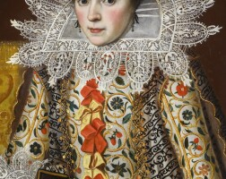 127. attributed to william larkin | portrait of a lady, half-length, wearing an elaborately embroidered waistcoat with red and yellow ribbons, lace collar and lace cap, holding a prayer book