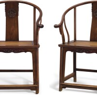 3641. a pair of 'huanghuali' horseshoe-back armchairs qing dynasty, 17th century