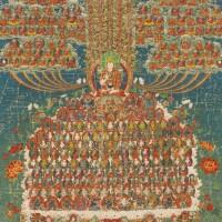 738A. a thangka depicting a refuge field of tsong khapa tibet,circa 1900