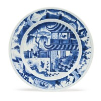 1110. chinese export blue and white plate late 17th / early 18th century