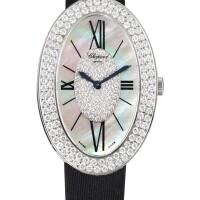 2046. 蕭邦 | 13/7098/8-20型號 白金鑲鑽石腕錶備珠母貝錶盤,錶殼編號555609及566/1,年份約2010。