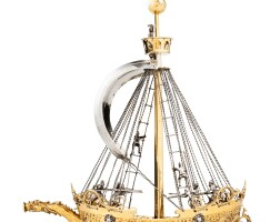 10. a german parcel-gilt silver nef -form drinking cup, georg müllner, nuremberg,circa 1641-1646 | a german parcel-gilt silver nef -form drinking cup, georg müllner, nuremberg,circa 1641-1646