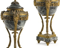306. a pair of louis xvi style gilt-bronze mounted verde antico brûle parfum late 19th/early 20th century |