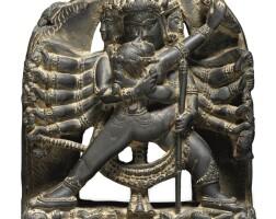 907. a dark grey stone depicting chakrasamvara eastern india, 11th/12th century   chakrasamvara
