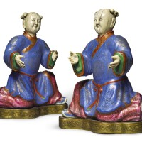 513. a rare pair of ivory and painted enamel figures of kneeling boys qing dynasty, qianlong period  