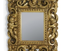 4. an italian carved giltwood mirror, possibly florence 17th century
