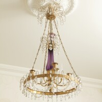149. a russian gilt-bronze and amethyst glass four-light chandelier, early 19th century |