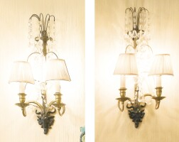 10. two pairs of neoclassical style brass and glass two-light wall lights 20th century