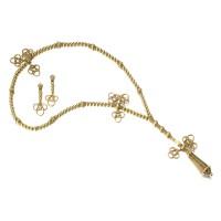3. 黃金「muslim prayer bead」項鏈,卡地亞(cartier)及耳環一對