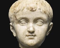 27. a roman marble portrait head of a boy, circa early 1st century a.d.   a roman marble portrait head of a boy