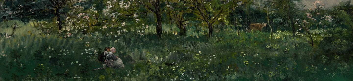 A french landscape painting in an auction selling barbizon school paintings