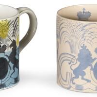 195. two wedgwood commemorative coronation mugs,designed by eric ravilious, 1937  