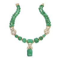 161. 18k黃金鑲祖母綠配鑽石項鏈