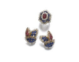 48. pair of ruby, sapphire and diamondearrings and a synthetic ruby ring