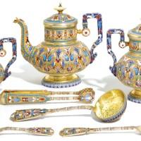 484. a silver-gilt and cloisonné enamel tea service, ivan saltykov, moscow, retailed by ovchinnikov, 1895