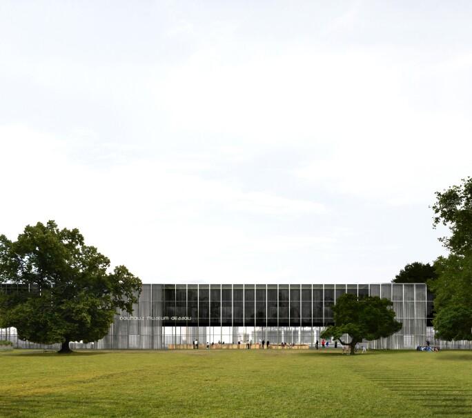 Entwurf Bauhaus Museum Dessau, Ansicht Stadtpark.
