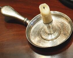 21. george ii silver chamber candlestick, john cafe, london, 1744
