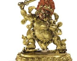 36. 清十八世紀 鎏金銅戰神博克孜立像