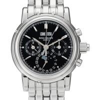 2329. 百達翡麗   型號5004 白金萬年曆追針計時鍊帶腕錶,備月相、24小時、閏年顯示及黑色錶盤,機芯編號3275151,錶殼編號4443529,約2008年製